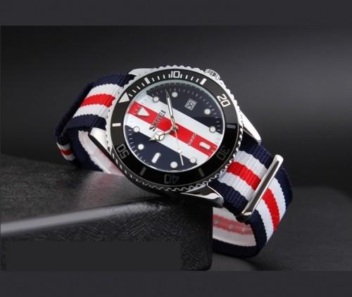 นาฬิกา SKMEI สายผ้า ดีไซน์ 5 แถบ สีคล้ายธงชาติอังกฤษสวยมีสไตล์สุดๆ