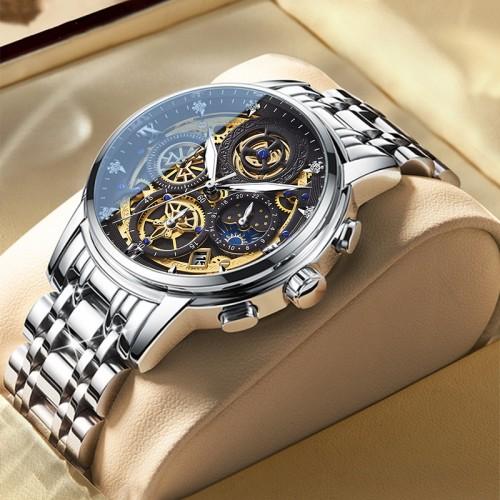 นาฬิกา WISHDOIT หน้าปัดสีดำลายทอง สายสแตนเลส สวยหรู