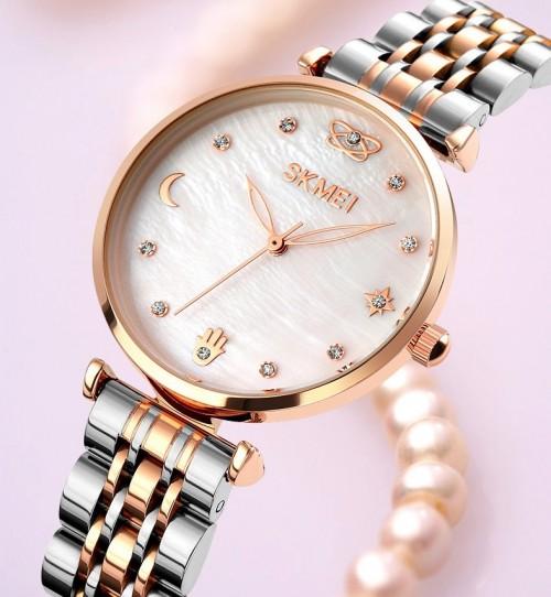 นาฬิกาแบรนด์ SKMEI หน้ามุกสีขาวดีไซน์สวยหรู