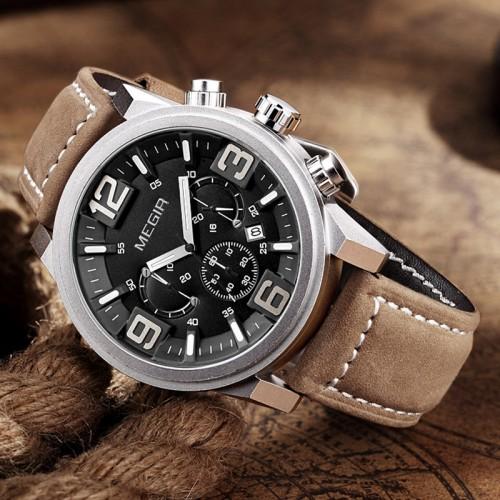 นาฬิกา MEGIR งานพรีเมียมหน้าดำ สายหนังน้ำตาลสวย
