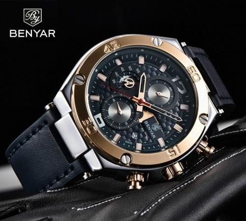 นาฬิกา BENYER เกรดพรีเมียม สายหนัง หน้าปัดน้ำเงินขอบทอง