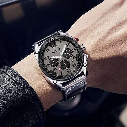 นาฬิกา WISHDOIT หน้าปัดเทา สายหนัง สไตล์สปอร์ตสวยเท่ห์