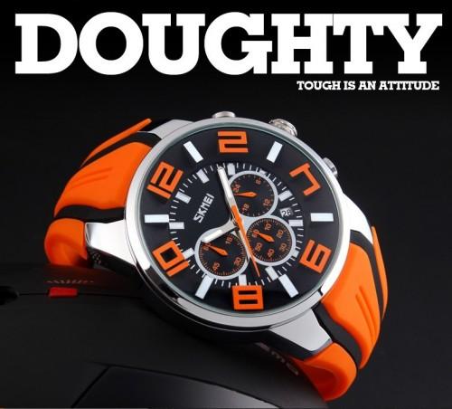นาฬิกา SKMEI เรือนใหญ่สีส้มดำสวย สายยาง
