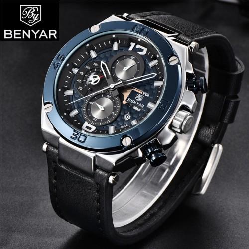 นาฬิกา BENYER เกรดพรีเมียม สายหนัง หน้าปัดน้ำเงินเท่ห์เข้ม