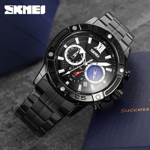 นาฬิกา SKMEI คุณภาพเยี่ยม หน้าปัดสีดำ สายสแตนเลสดำ สวยหรูมีสไตล์