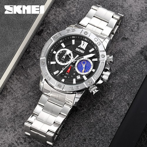 นาฬิกา SKMEI คุณภาพเยี่ยม หน้าปัดสีดำ สายสแตนเลส สวยหรูมีสไตล์