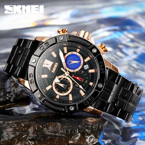 นาฬิกา SKMEI คุณภาพเยี่ยม หน้าปัดดำตัดโรสโกลด์ สายสแตนเลสดำสวยงาม