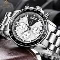 นาฬิกา WISHDOIT สายสแตนเลส หน้าปัดขาวตัดดำ สวยหรู